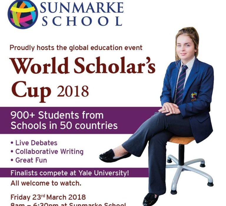The 2018 edition of the World Scholar's Cup is being hosted at Sunmarke School 23rd March 2018