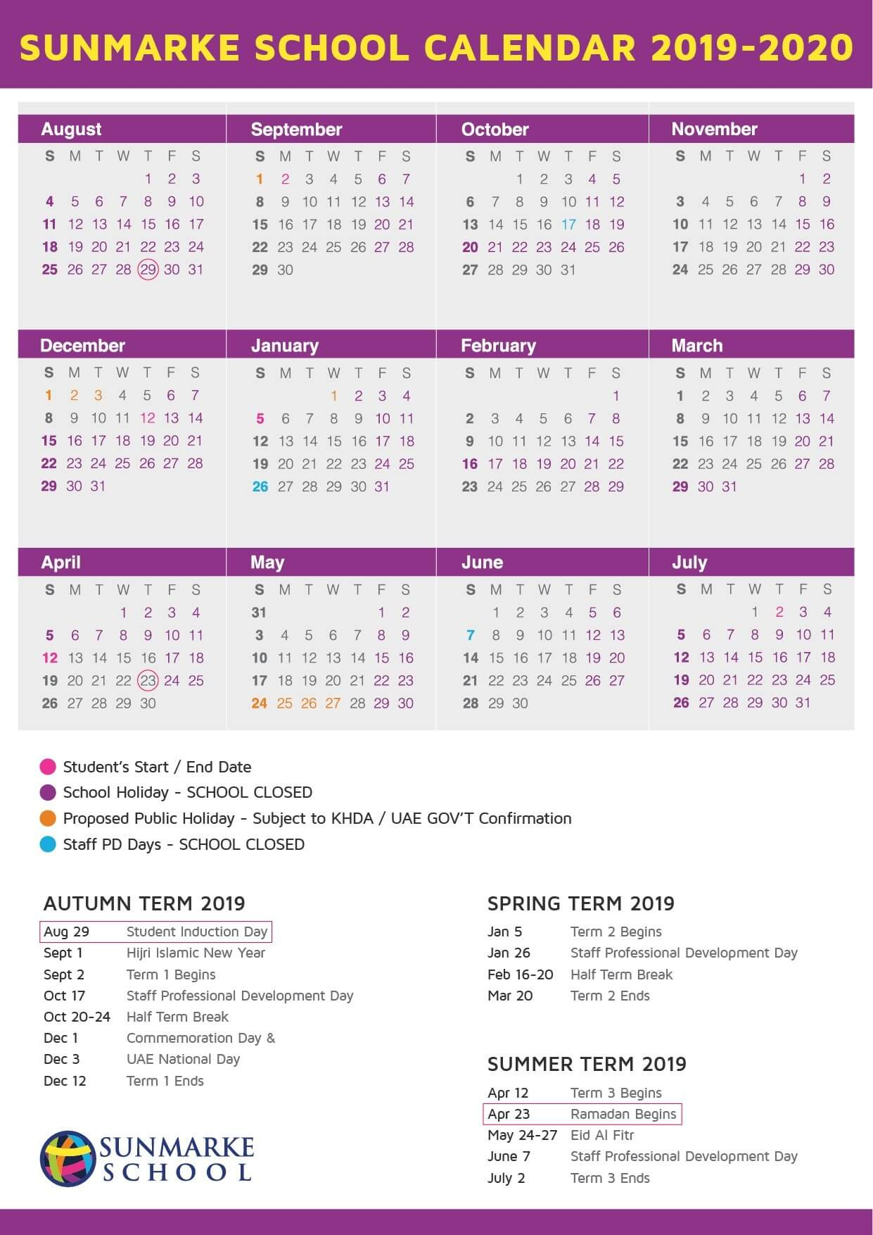 Calendario Ramadan 2020.Academic Calendar Sunmarke School British Curriculum